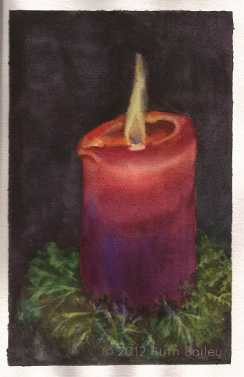 "A Light in the Darkness, watercolor, 8"" x 5"" December days are short, dark, and often cold here. A candle in the evening brings warmth and light to the room."
