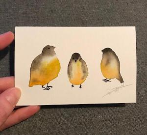 Tiny Bird Painting #16-Styles > Birds, Techniques > Original Watercolours, Size > Small (up to 21 cm, eg. A5), Techniques > Cards > Tiny Bird Paintings-Rutheart