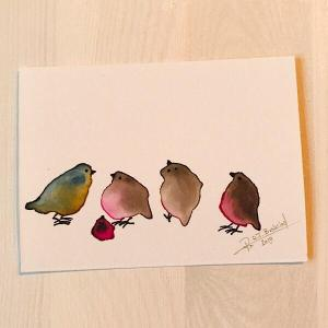 Tiny Bird Painting #17-Styles > Birds, Techniques > Original Watercolours, Size > Small (up to 21 cm, eg. A5), Techniques > Cards > Tiny Bird Paintings-Rutheart
