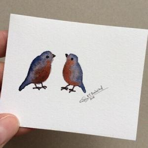 Tiny Bird Painting #14-Styles > Birds, Techniques > Original Watercolours, Size > Small (up to 21 cm, eg. A5), Techniques > Cards > Tiny Bird Paintings-Rutheart