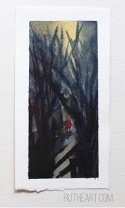 Into the Woods-Styles > Landscapes, Techniques > Original Paintings, Size > Small (up to 21 cm, eg. A5)-Rutheart