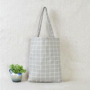 Women Casual Plaid Linen Cotton Canvas Shopping Shoulder Bags Tote Bags Tote-Rutheart