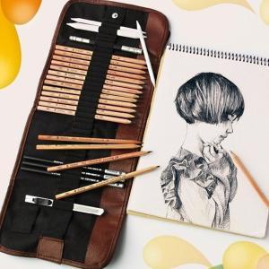 Penal med plass til 24 blyanter, pensler, børster eller annet tegne- og maleutstyr / 24 Slots Pencil Bag Wrap Roll Up for Sketching Pens, Brushes and other Artist Tools-Rutheart