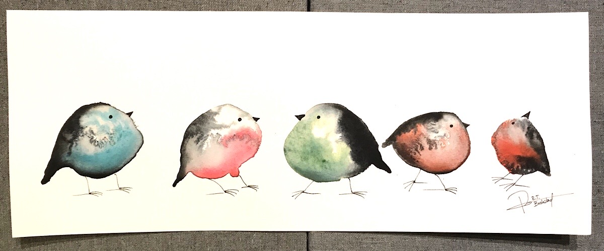 Watercolour painting of birds called Fåglarna vet - Coming for sale at the facebook auction eventmras 2020