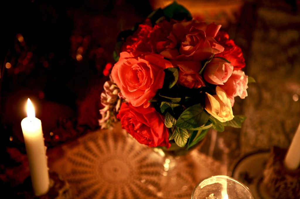a bouquet of roses from Tess's garden, candlelight image