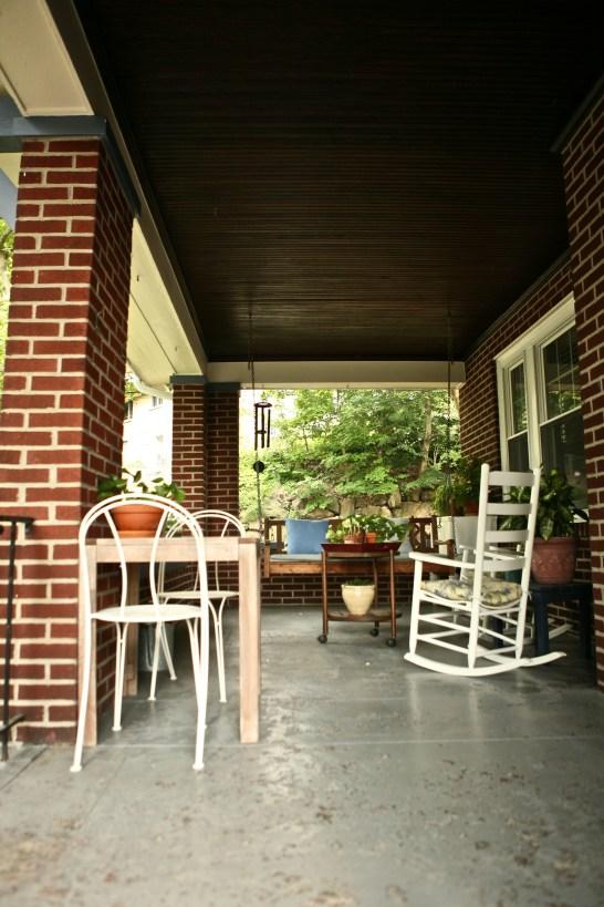 Porch swing, rocker, wind chimes