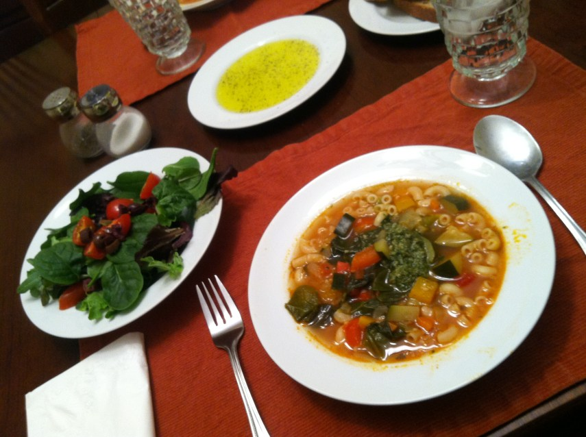 vegetable soup and pesto