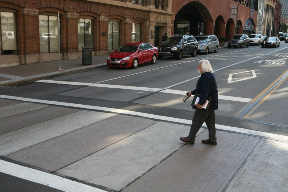 Man crossing the street