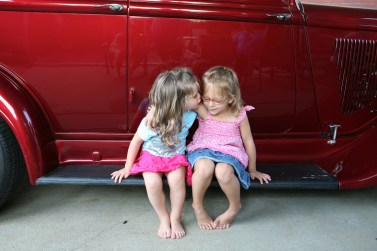 Cousins on Uncle Frank's Running Board