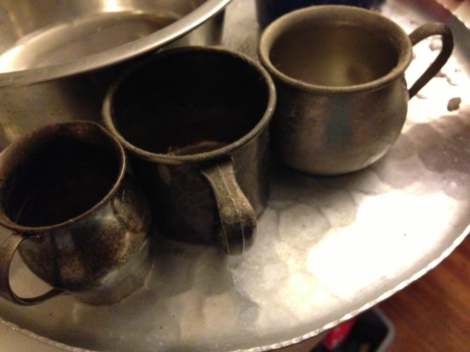 baby cups on a hammered aluminum tray