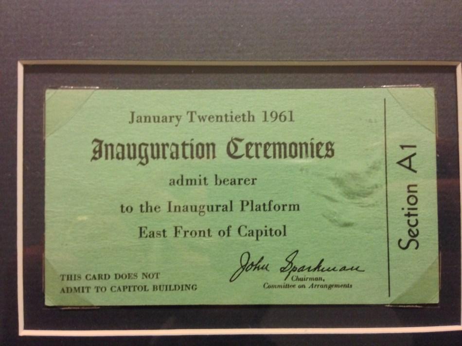 Inauguration ticket JFK
