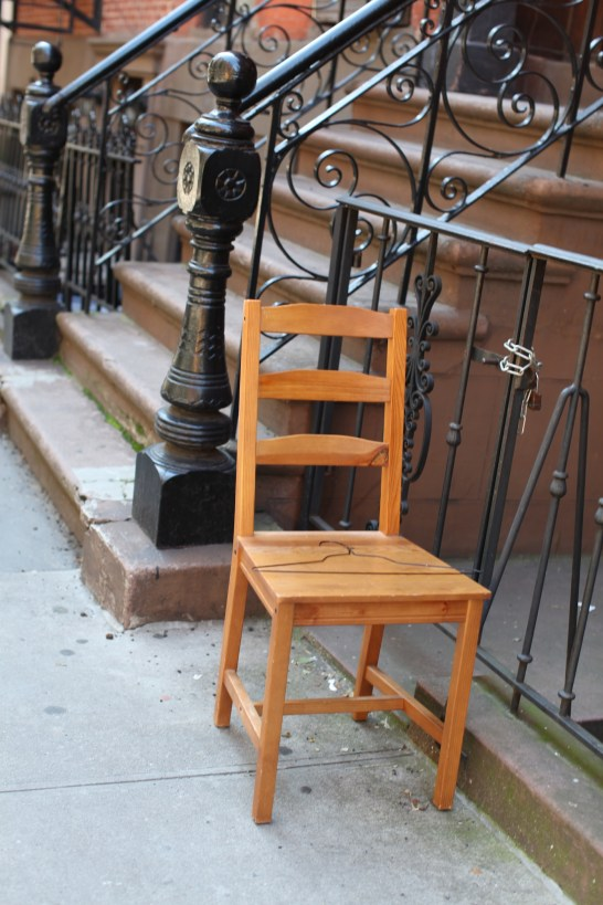 chair on the sidewalk