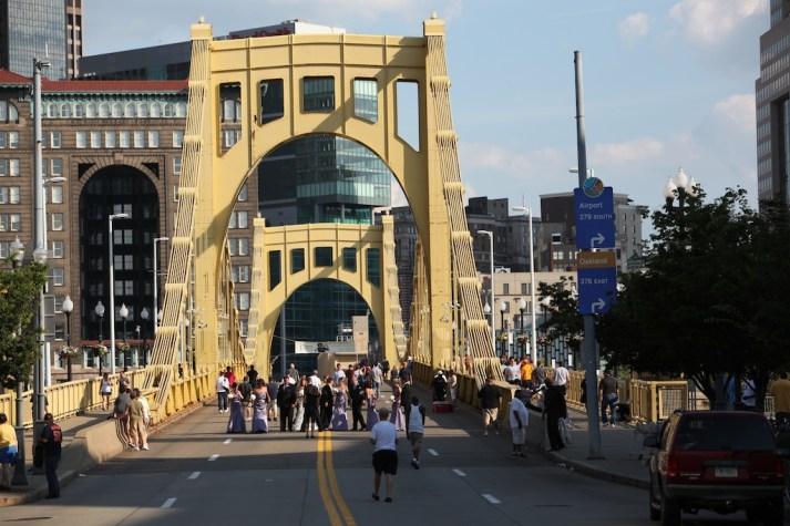 Someone's Wedding on Roberto Clemente Bridge