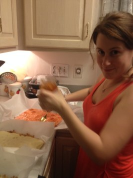Melissa baking at Mother of the Bride's kitchen
