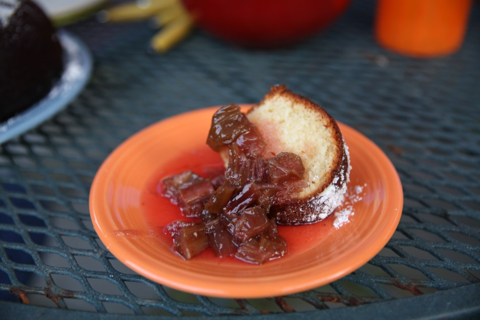 buttermilk pound cake with rhubarb