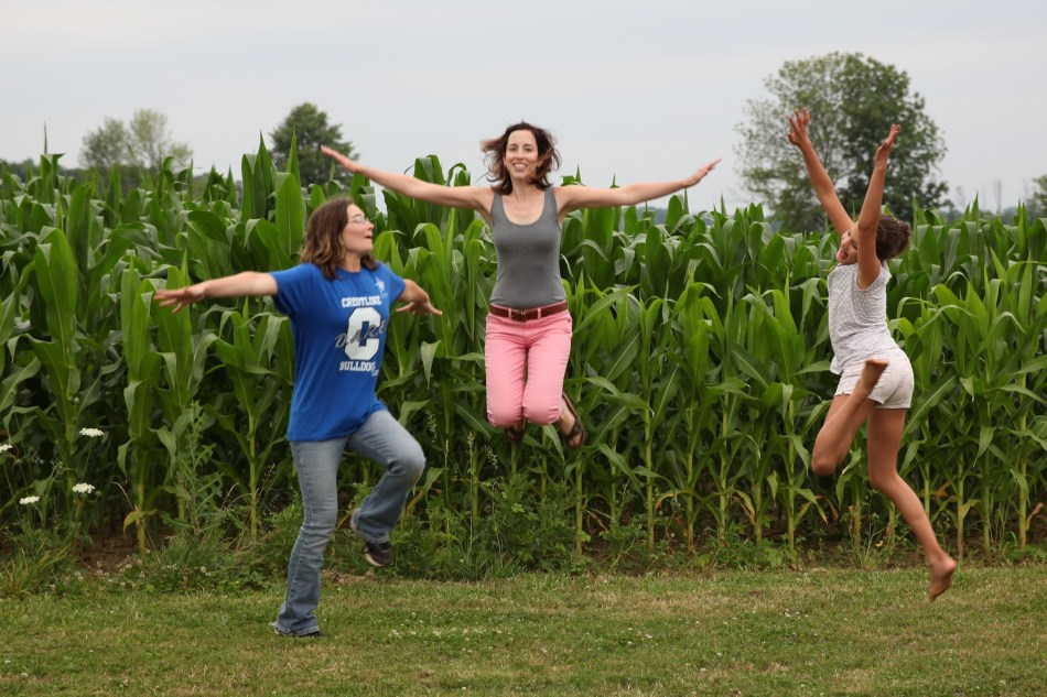 jumping and the corn