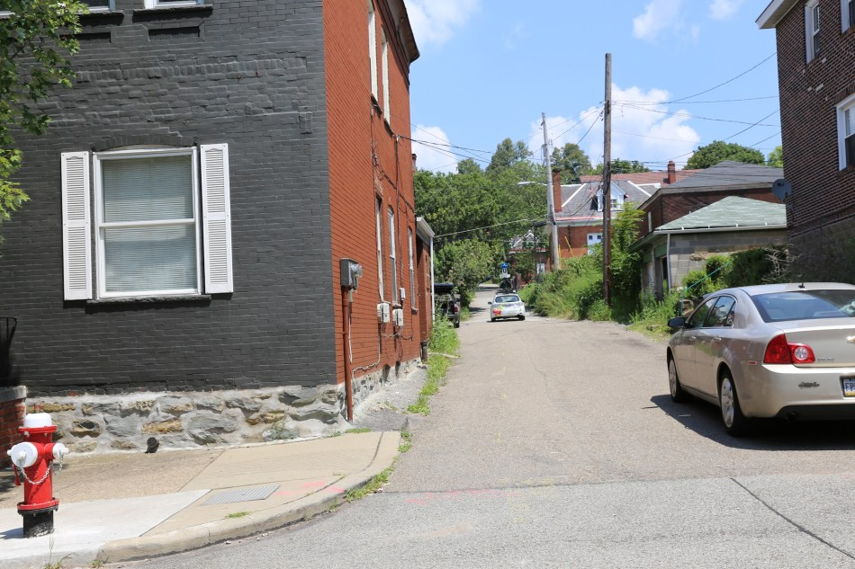 google car in alley