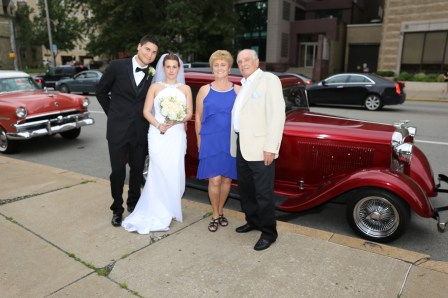 Bride and Groom with Aunt Linda and Uncle Frank