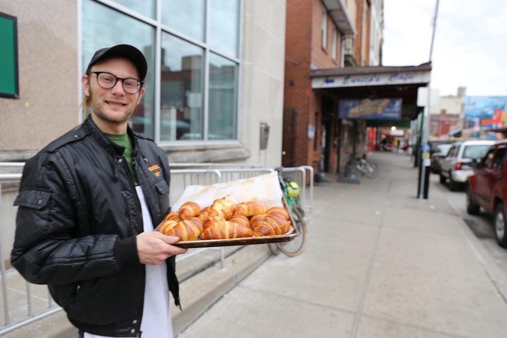 Matt and his freshly baked croissants