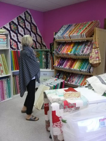 Colleen shops for colorful quilt fabric