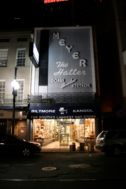 Meyer the Hatter Exterior at Night New Orleans