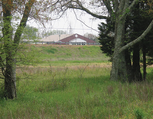 Thompson Lane obscures the site of the burned Cowan House