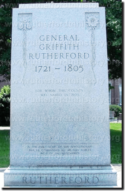 The General Griffin Rutherford monument on Rutherford County's historic Square.
