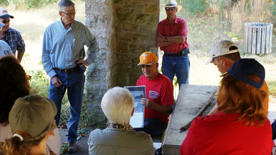 Jefferson native Toby Francis sharing his wealth of memories with a large group of local historians.