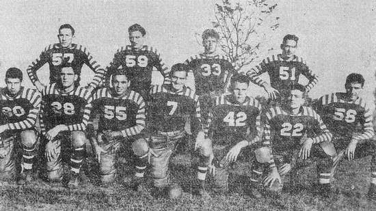 The starting lineup for the STC 'Fighting 40s' team included, kneeling from left, Billy McDonald, Charles Greer, Fount Watson, Sam Burton, Bill Evans, Bob Sarvis and Elbert Patty. Standing, from left, are Burney Lee Tucker, Ed Hodges, William 'Ug' McCrory and Billy Bryant.