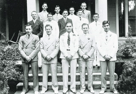 Charter members of the Sigma Phi Omega high school fraternity.  The fraternity president, Charlie Byrn, is in the front row middle.