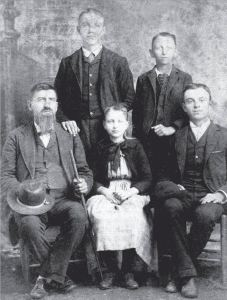 """""""First Family of the McCord House"""" - Dr. William H. McCord & Children: Annie & John H. """"Tip"""", Back Row: William Edward & Emmit Allen (Courtesy of The Eagleville Times, March, 2012)"""