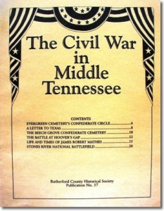 Publication 37: The Civil War in Middle Tennessee. (Please add shipping of $5.00)