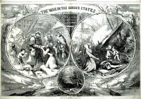 """""""War in the Border States"""" depicts the suffering of women and children in the war ravaged Upper South states such as Tennessee. (Harper's Weekly, 1863)"""