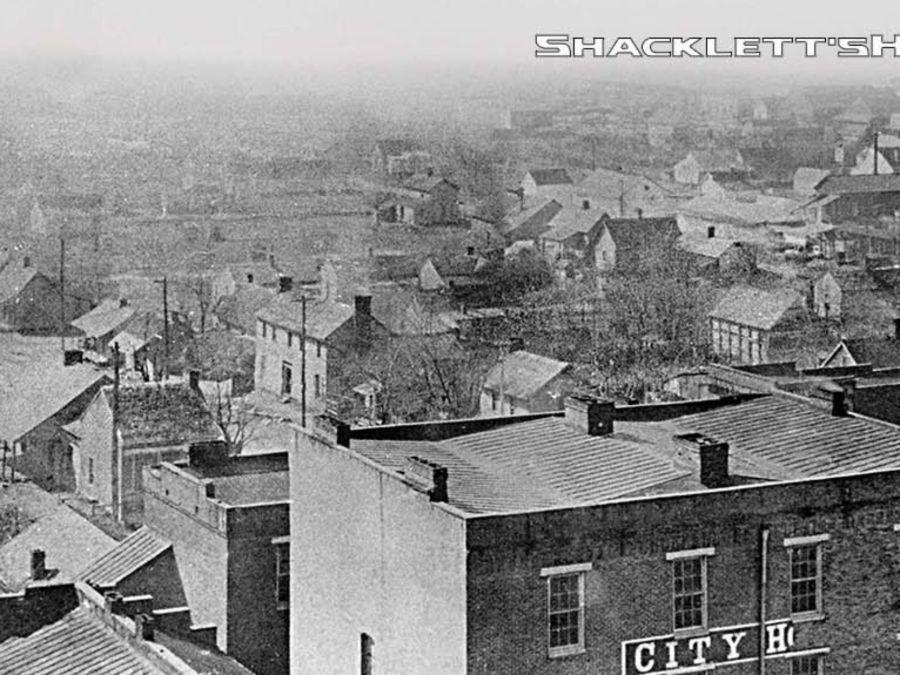 Southwest corner of the Murfreesboro Public Square around 1900.  Shacklett's Photography