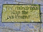 Fat raindrops slap the pavement.