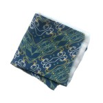 Blue pocket square with white and green abstract pattern