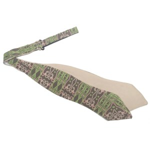 untied Light brown diamond point bow tie with green and pink pattern
