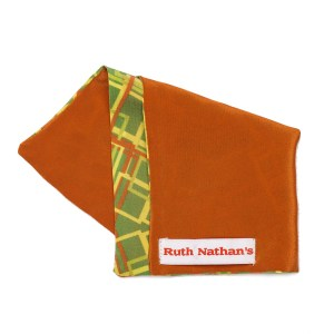 orange/Green pocket square with orange and yellow abstract geometric pattern