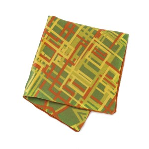 Green pocket square with orange and yellow abstract geometric pattern