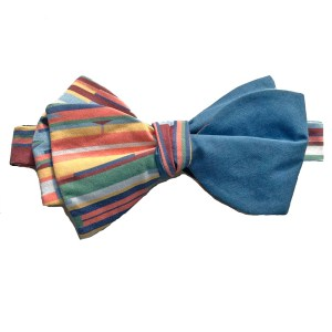 tied Multi color stripe bow tie with blue on reverse side