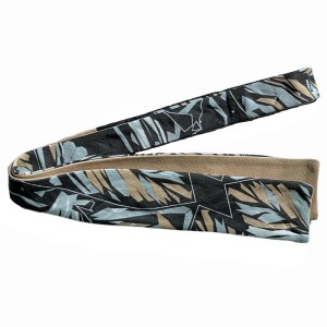 Black, tan, grey and white botanical printed batwing skinny bow tie (un-tied)
