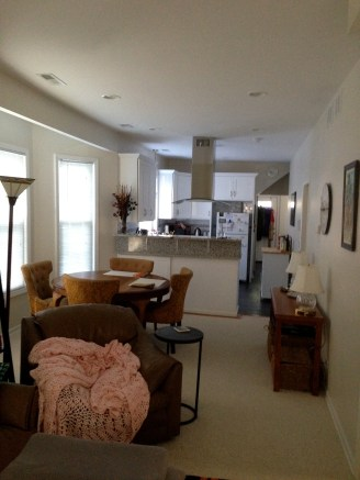 View of our living/dining/kitchen. The bedrooms are on the right.