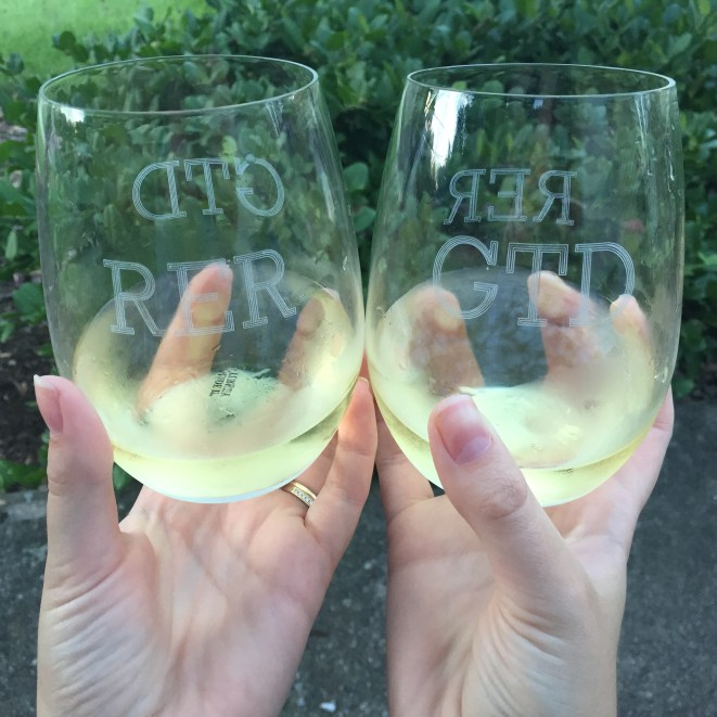 Adding monograms to wine glasses that were only monogramed with G's initials.