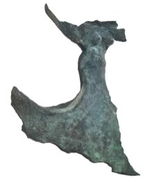 "20 RUNNING - Bronze 2007 - Wall hanging, patinated black green - 22"" x 20"" x 6"""