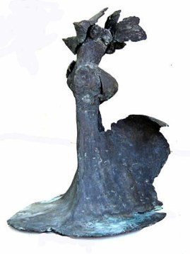 """124 TANGO (view 1) - Bronze 2007 - Cast, in the round, patinated blue gray - 27"""" x 17"""" x 16"""""""