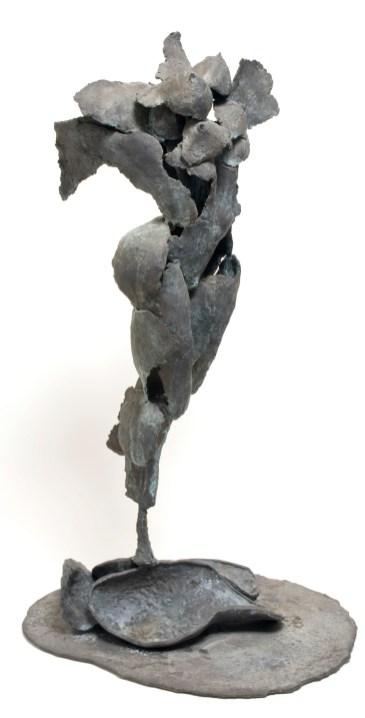 "BLUE FLYING VENUS (view 2) - Bronze 1996 - Cast, assembled, patinated blue green - 53"" x 17"" x 21""; Artist Studio"