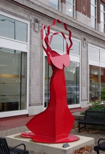LA DIVA - II 2009 Fabricated Steel Painted Red 12' x 5' x 4'; On extended loan to the Public Art League of Champaign-Urbana, IL
