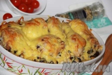 Куриные ножки с картошкой и грибами в духовке - рецепт с фото