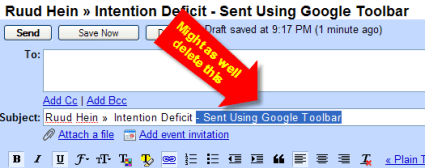 Delete Sent Using Google Toolbar text