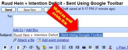 Delete Sent Using Google Toolbar text